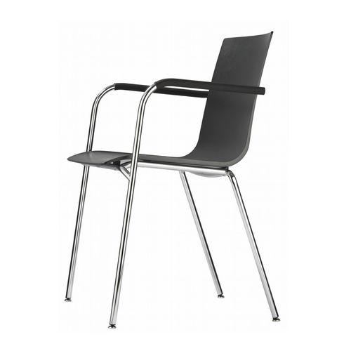 chaise visiteur contemporaine / avec accoudoirs / empilable / en contreplaqué moulé
