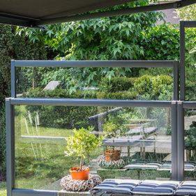 paravent contemporain / en verre / de terrasse / réglable