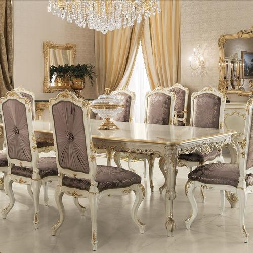 table à manger de style / en bois massif / en bois doré à la feuille d'or / en tissu
