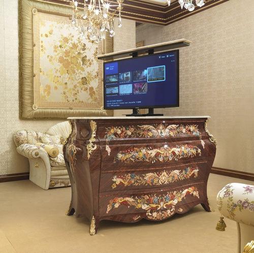 meuble TV de style / avec élévateur d'écran / sur mesure / en palissandre
