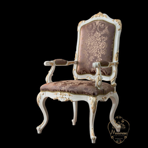 chaise de salle à manger de style / tapissée / avec accoudoirs / fait main