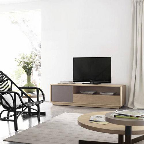 meuble TV contemporain / en bois laqué / en chêne / en bois massif