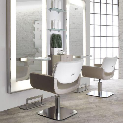 fauteuil de coiffure en simili cuir / en acier / en bois composite / piètement central