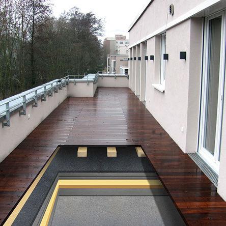 isolant acoustique / en caoutchouc / en polyuréthane / pour toiture-terrasse