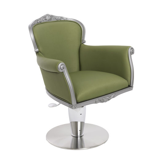 fauteuil de coiffure en cuir / en acier / piètement central / avec pompe hydraulique
