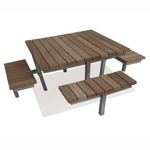 table de pique-nique contemporaine / en bois / en acier galvanisé / carrée