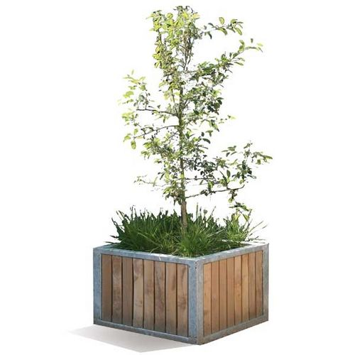 jardinière en acier galvanisé / en bois / rectangulaire / carrée