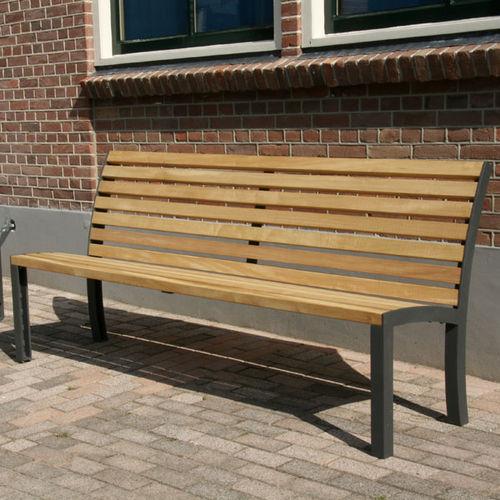 banc public / contemporain / en bois / en acier