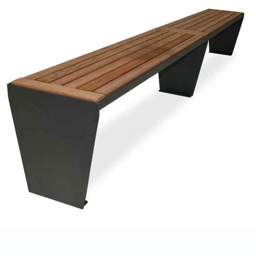 banc public / contemporain / en acier galvanisé / en bois de feuillus