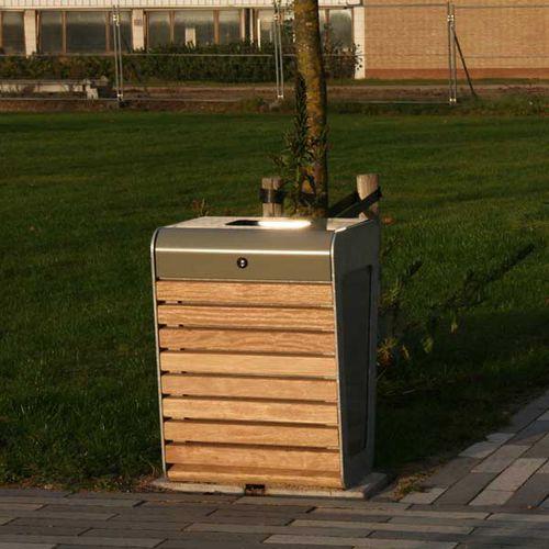 poubelle publique / en acier galvanisé / en bois / contemporaine