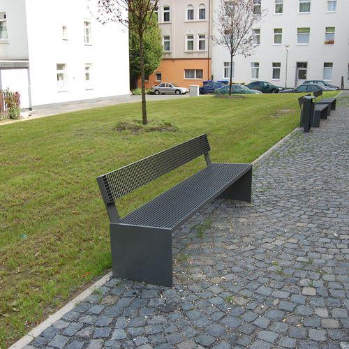 banc public / design minimaliste / en acier / avec dossier