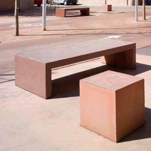 banc public / design minimaliste / en béton armé / à double assise