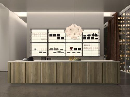 cuisine contemporaine / en bois / en pierre naturelle / en quartz