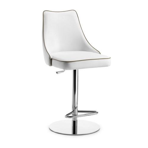 chaise de bar contemporaine / tapissée / avec repose-pieds / piètement central