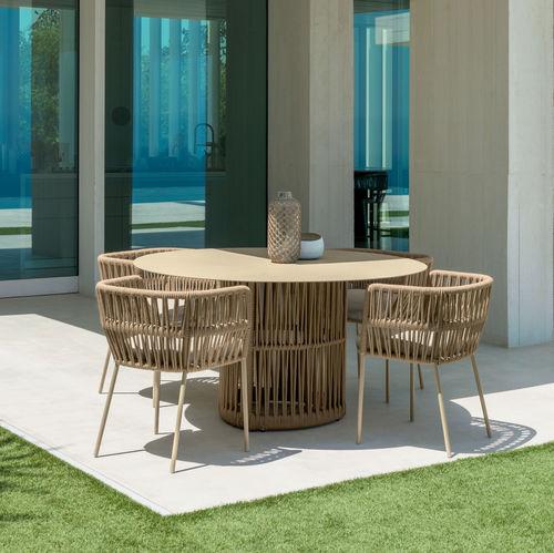 table à manger contemporaine / en aluminium / en corde / ronde