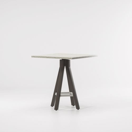 table mange-debout contemporaine / en teck / en aluminium / ronde