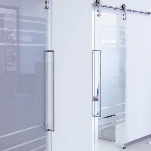 poignée de tirage pour porte en verre / pour porte coulissante / en acier inoxydable poli / en acier inoxydable brossé