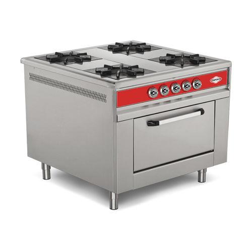 cuisinière à gaz / professionnelle / en inox / en fonte
