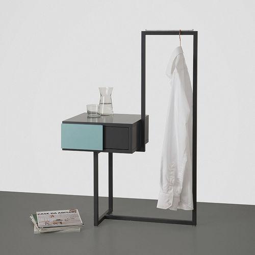 table de chevet contemporaine / en métal / en MDF / rectangulaire