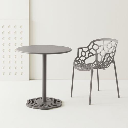 table bistrot contemporaine / en aluminium / en polymère / avec piètement en fonte d'aluminium