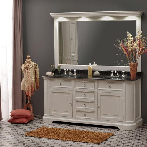 meuble vasque double / à poser / en bois / en marbre