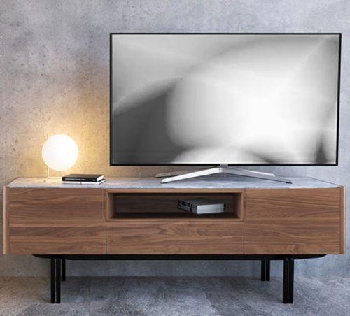 meuble TV contemporain / en chêne / en noyer / en fer