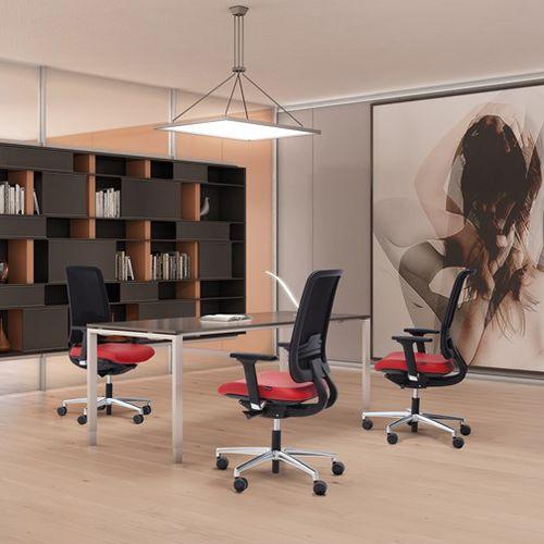fauteuil de bureau contemporain / en maille / en cuir / à roulettes
