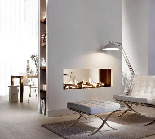 cheminée à gaz / contemporaine / à foyer fermé / double face