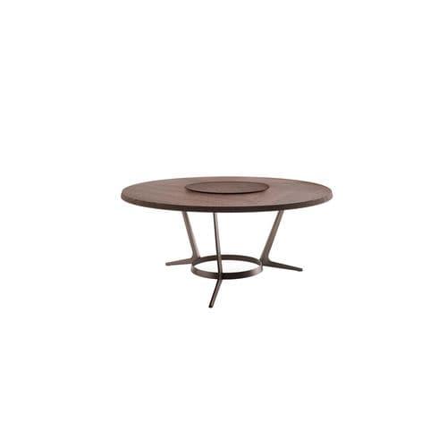 table contemporaine / en bois massif / en wengé / en acier