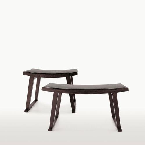 banc contemporain / en bois massif / en cuir / en tissu
