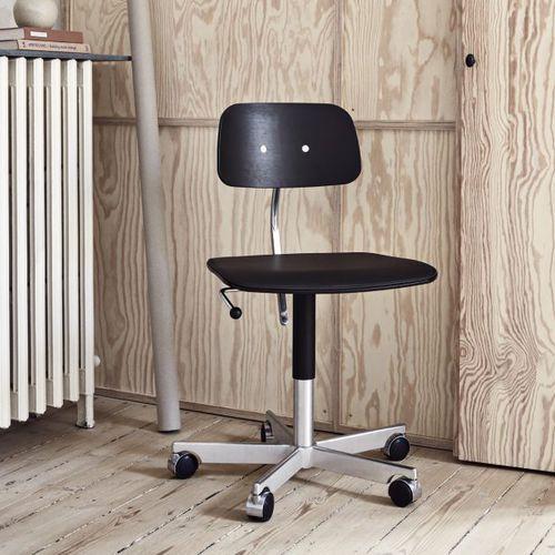 chaise de travail en métal / en bois / en cuir / piètement étoile