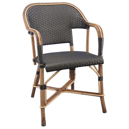chaise de restaurant classique / avec accoudoirs / en rotin / en bois courbé