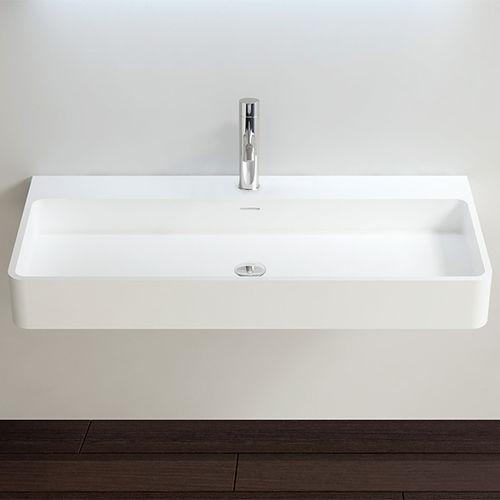 vasque suspendue / rectangulaire / en fonte minérale / contemporaine