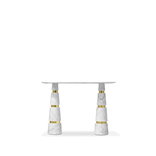 console contemporaine / en acier inoxydable poli / en marbre / ovale