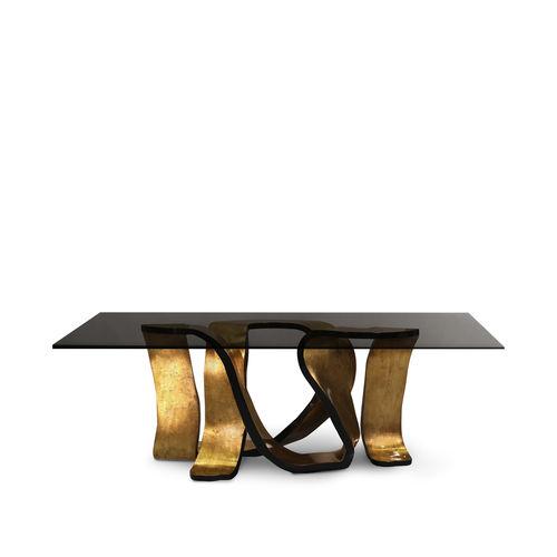 table à manger design original / en bois doré à la feuille d'or / en verre trempé / rectangulaire
