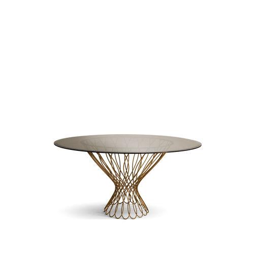 table à manger contemporaine / en verre trempé / en métal / ronde