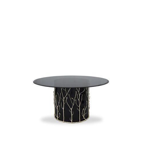 table à manger design original / en verre trempé / en laiton / ronde
