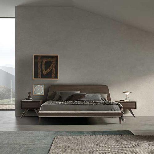 lit double / contemporain / avec tête de lit / en tissu