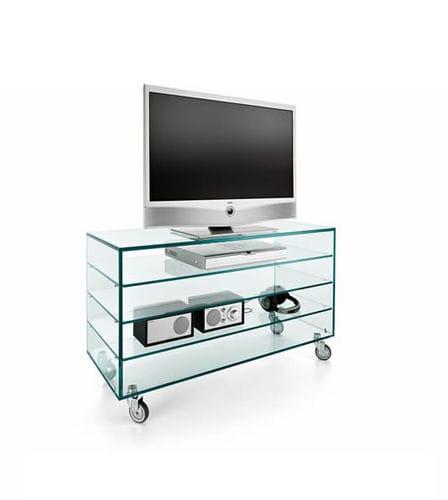 meuble de télévision contemporain / à roulettes / en verre
