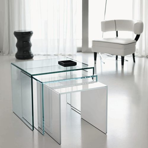 table gigogne contemporaine / en verre / rectangulaire / blanche