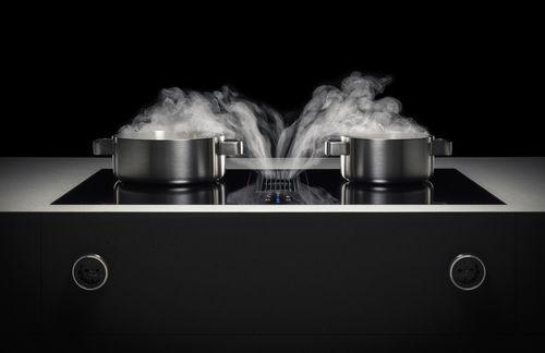 table de cuisson à induction / avec dispositif d'aspiration / sur mesure / 2 foyers