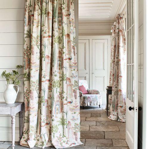 tissu d'ameublement / pour rideaux / à motif / en coton