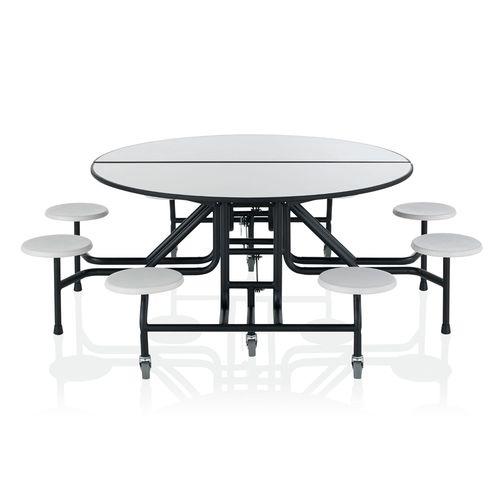 ensemble table et bancs contemporain / en bois / à roulettes / d'intérieur