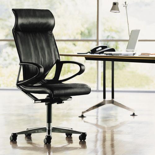 fauteuil de direction contemporain / en cuir / en aluminium / à roulettes