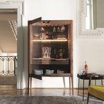 meuble bar contemporain / en noyer / en frêne / en verre fumé