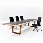 table de réunion contemporaine / en bois / avec piètement en aluminium / rectangulaire
