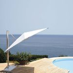 parasol déporté / en tissu / en aluminium / à manivelle
