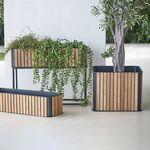 jardinière en teck / en aluminium / carrée / contemporaine