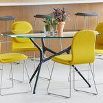 table de réunion contemporaine / en bois / en verre / avec piètement en aluminium