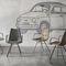 chaise contemporaine / tapissée / avec accoudoirs / en métal peint